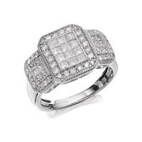 9ct White Gold 1 Carat Diamond Trio Cluster Ring - D7287-Q