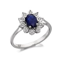 9ct White Gold Diamond And Sapphire Cluster Ring - 10pts - D7291-J