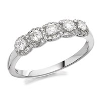 9ct White Gold Five Diamond Halo Cluster Ring - 1/2ct - D7299-N