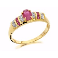 9ct Gold Ruby And Diamond Ring - D7302-J