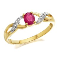 9ct Gold Ruby And Diamond Crossover Ring - D7303-K