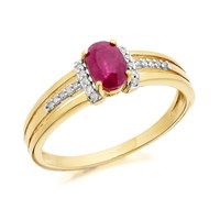 9ct Gold Ruby And Diamond Split Band Ring - D7304-J