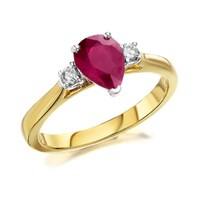 9ct Gold Ruby And Diamond Trilogy Ring - 15pts - D7305-K