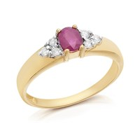 9ct Gold Ruby And Diamond Ring - 12pts - D7401-J