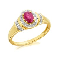 9ct Gold Oval Ruby And Diamond Cluster Ring - D7402-N