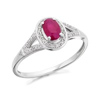 9ct White Gold Ruby And Diamond Cluster Split Shoulders Ring - D7406-L