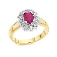 9ct Gold Ruby And Diamond Cluster Ring - 1/4ct - D7412-K