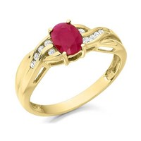 9ct Gold Ruby And Diamond Ring - 10pts - D7419-M