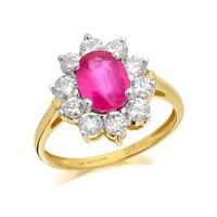 9ct Gold 1.2 Carat Ruby And 1 Carat Diamond Cluster Ring - D7425-Q