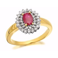 9ct Gold Ruby And Diamond Two Row Cluster Ring - 30pts - D7426-P