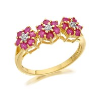 9ct Gold Diamond And Ruby Flower Cluster Ring - D7486-P