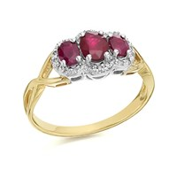 9ct Gold Two Colour Ruby And Diamond Cluster Ring - 10pts - D7487-S
