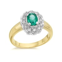 9ct Gold Diamond And Emerald Cluster Ring - 1/4ct - D7607-J