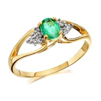 9ct Gold Emerald And Diamond Split Band Ring - D7608-Q