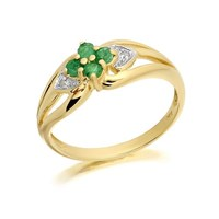 9ct Gold Diamond And Emerald Heart Ring - EXCLUSIVE - D7610-S
