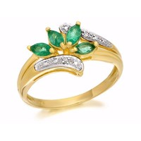 9ct Gold Emerald And Diamond Ring - EXCLUSIVE - D7632-R