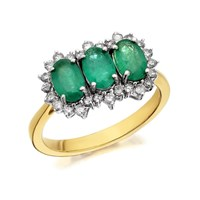 9ct Gold Emerald And Diamond Cluster Ring - 1/3ct - D7634-M