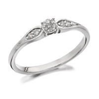 9ct White Gold Diamond Bow Cluster Ring - 8pts - D7724-K