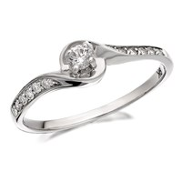 9ct White Gold Diamond Twist Ring - 20pts - D7732-J