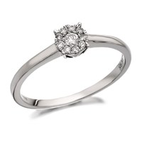9ct White Gold Diamond Starburst Ring - 15pts - D7734-N