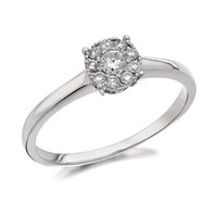 9ct White Gold Diamond Starburst Ring - 1/4ct - D7735-L