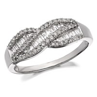 9ct White Gold Diamond Crossover Bow Ring - 1/2ct - D7746-R