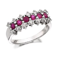 9ct White Gold Ruby And Diamond Cluster Band Ring - 1/4ct - D7750-N