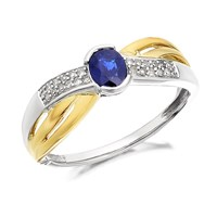 9ct Two Colour Gold Sapphire And Diamond Crossover Ring - D7761-K