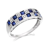9ct White Gold Sapphire And Diamond Checkerboard Ring - D7762-O