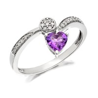 9ct White Gold Amethyst And Diamond Tendril Ring - D7763-S