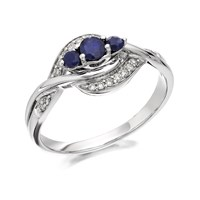 9ct White Gold Sapphire And Diamond Crossover Ring - 12pts - D7765-J