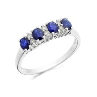 9ct White Gold Sapphire And Diamond Ring - 11pts - D7769-M
