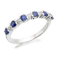 9ct White Gold Sapphire And Diamond Half Eternity Ring - 10pts - D7770-L
