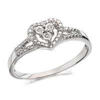 9ct White Gold Diamond Heart Cluster Ring - D7771-P