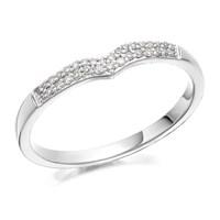 Women's Jewellery 9ct White Gold Diamond Wishbone Ring - 10pts - D7775-S