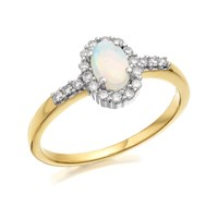 9ct Gold Opal And Diamond Cluster Ring - 16pts - D7776-P