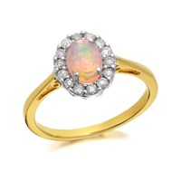 9ct Gold Opal And Diamond Cluster Ring - 0.25ct - D7780-P