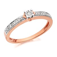 9ct Rose Gold Diamond Ring - 12pts - D7804-R