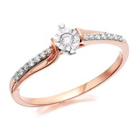 9ct Rose Gold Diamond Ring - 12pts - D7809-L