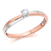 9ct Two Colour Gold Diamond Solitaire Ring - 10pts - EXCLUSIVE - D7810-O