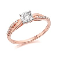 9ct Rose Gold Diamond Ring - 17pts - EXCLUSIVE - D7812-K