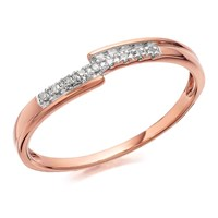 9ct Rose Gold Off Set Diamond Ring - D7813-K