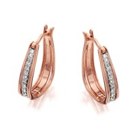 9ct Rose Gold Diamond Hoop Earrings - 10pts per pair - D7817