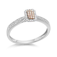 9ct White Gold One In A Million Pink And White Diamond Cluster Ring - 10pts - D7879-K
