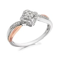 9ct Gold Two Colour Diamond Twist Ring - 1/4ct - D7909-M