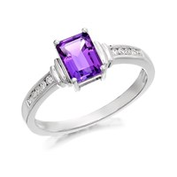 9ct White Gold Amethyst And Diamond Ring  EXCLUSIVE  D7918K