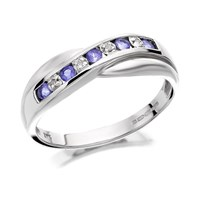 9ct White Gold Tanzanite And Diamond Crossover Half Eternity Ring - D7942-P