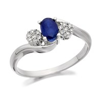9ct White Gold Diamond And Sapphire Crossover Ring - 10pts - EXCLUSIVE - D7951