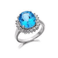 9ct White Gold Diamond And Blue Topaz Cluster Ring - 1/2ct - D7959-O