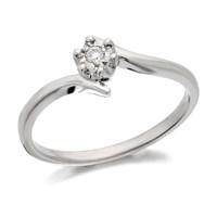 9ct White Gold Diamond Twist Ring - 3pts - D7967-P